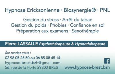 Carte Visite Pierre LASSALLE, Psychothérapeute et Hypnothérapeute à Brest